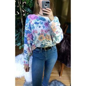 🌿 Vintage Pastel Floral Cozy Knit Sweater 🌿